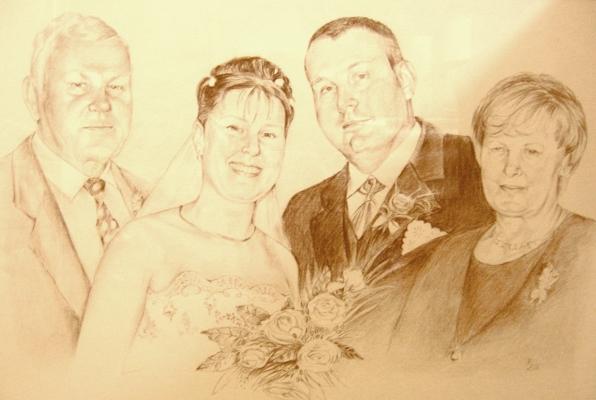 Portrétování - Čtyřportrét hnědou tužkou na ruční papír - portret-hneda.jpg